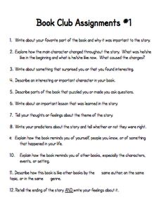 Book club ideas, structure, possible assignments -- teach123-school.blogspot.com.
