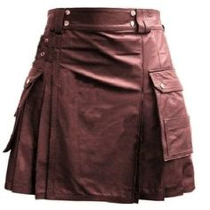 Brown Leather Pleated Kilt with Cargo Pockets    #brown #leather #kilt #leatherkilt #utilitykilt #leatherutilitykilt