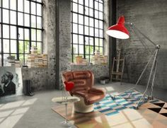 Today we decided to invite you to see our predictions for the top interior design trends that will define the success of your upcoming interior design projects or home renovation. Mid-century Interior, Industrial Interior Design, Vintage Industrial Decor, Industrial Interiors, Industrial Living, Industrial Style, Modern Interiors, Industrial Lamps, Industrial Bedroom