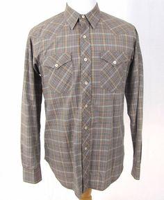 Lanvin Paris Sport Shirt Large 100% Cotton Glen Plaid Western Yoke Button Front #Lanvin #ButtonFront