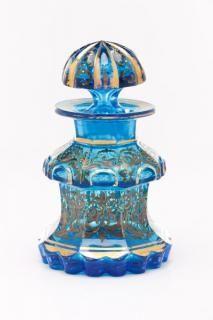 "Bohemian Blue Cut Glass Enameled Perfume Bottle., third quarter 19th century. <a href=""https://www.marks4antiques.com/"">marks4antiques.com</a>"