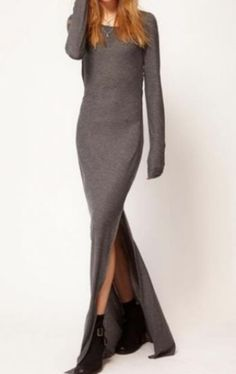 Dark Grey Long Sleeve Elastic Side Split Dress