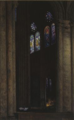 "amare-habeo: "" Józef Pankiewicz (Polish, 1866 - 1940) The interior of cathedral in Chartres, 1903 Oil on canvas, 84 x 52 cm """