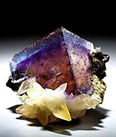Fluorite with Calcite - Minerva Mine, Hardin County, Illinois, USA Size: 2 x 1 inches Minerals And Gemstones, Rocks And Minerals, Natural Gemstones, Rare Gems, Beautiful Rocks, Mineral Stone, Rocks And Gems, Krystal, Stones And Crystals