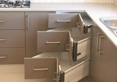 A kitchen must have! We all have those pesky corner cabinets that are a complete joke. This looks like it might solve the problem of properly using that corner space.