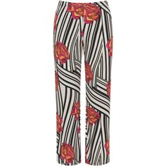 Manon Baptiste Black / Multicolour Plus Size Stripe and flower jersey... ($125) ❤ liked on Polyvore featuring pants, black, plus size, patterned pants, stripe pants, striped pants, jersey pants and straight leg trousers