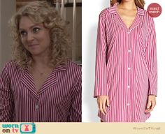 Carrie's red striped sleepshirt on The Carrie Diaries. Outfit Details: http://wornontv.net/24466 #TheCarrieDiaries #fashion
