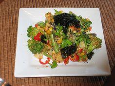 Tempeh, broccoli, green bean, sweet pepper, nori stir fry