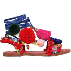 DOLCE & GABBANA 20mm Pompom & Tassels Leather Sandals (€2.210) found on Polyvore featuring shoes, sandals, flats, leather flats, swarovski crystal sandals, embellished leather sandals, embellished sandals and flat shoes