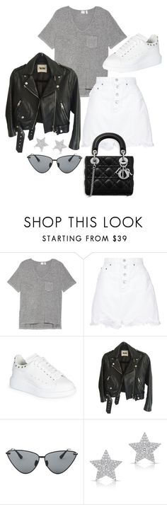 """Untitled #23403"" by florencia95 ❤ liked on Polyvore featuring Make + Model, Nobody Denim, Alexander McQueen, Acne Studios, Le Specs Luxe and Diamond Star"