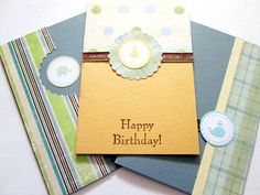 Little Boy Birthday Cards Blue Green Yellow by MayQueenCrafts, $8.00