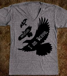 Divergent. Tris I am Selfish. I am Brave. Tattoo Inspired Tee, Divergent, Tris Prior. on Etsy, $32.00