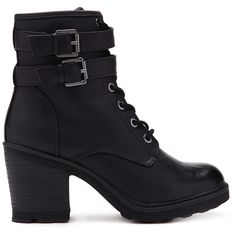 Forever 21 Women's  Lace-Up Combat Boots (€27) ❤ liked on Polyvore featuring shoes, boots, ankle booties, ankle boots, lace up boots, military boots, combat boots, platform boots and high heel combat boots