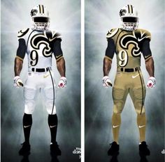 New Saints gear. although I would miss those black pants ; New Orleans Saints Jersey, New Orleans Saints Football, Nfl Football Teams, Football Stuff, Football Helmets, Football Season, Nfl Saints, Saints Gear, Football Uniforms