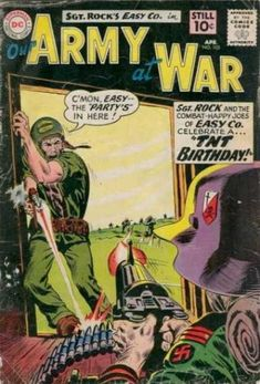 A cover gallery for the comic book Our Army at War Dc Comic Books, Comic Book Covers, Comic Art, Joe Kubert, War Comics, Silver Age Comics, Adventure Movies, Dc Comics Characters, Classic Comics