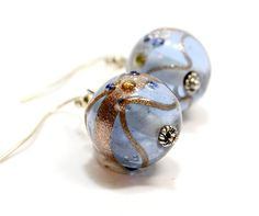 Indian Style Earrings. Blue Round Bead Earrings with Gold Bands. #earrings
