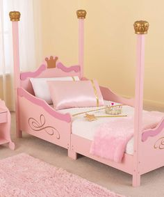 """Pink Princess Toddler Bed Only $129.99!- I personally think that toddler beds are a waste of space. Would love this as a twin bed!!""""-Sandra"""
