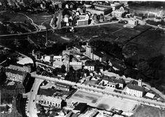 Lilleborg fabrikker. Sandakerveien, Bentsebrua och gamla brandstationen innan alla nya bygg.