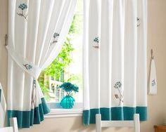Beautiful curtain white and green for kitchen -  Hermosa cortina blanca y verda para cocinas integrales