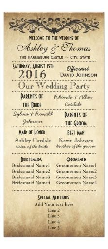 Wedding Program Vintage Rustic Typography Wedding Programs Template perfect for a rustic country wedding. Two Sided Vertical Wedding Programs. Wedding Programs Vintage, Wedding Ceremony Programs, Vintage Wedding Theme, Country Wedding Invitations, Diy Wedding Program Template, Diy Wedding Planner, Wedding Planning, Love, Just In Case