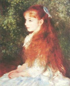 """Pierre Auguste Renoir: """"Little Irene"""", Portrait of the 8 year-old daughter of the banker Cahen D'Anvers, 1880. For our art class in either 8th or 9th grade, I tried to make a replica of this painting. Not with a great success though."""