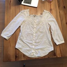 Lucky Brand Featherweight Summer Top Girly, flirty summer top by Lucky Brand. So many intricate details, see pics! Three quarter sleeves, embroidered on front and back. No stains, tears, rips :) excellent condition! Lucky Brand Tops