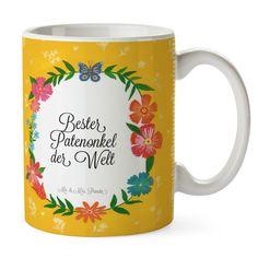 Tasse Design Frame Happy Girls Bester Patenonkel der Welt aus Keramik  Weiß - Das Original von Mr. & Mrs. Panda.  Eine wunderschöne Keramiktasse aus dem Hause Mr. & Mrs. Panda, liebevoll verziert mit handentworfenen Sprüchen, Motiven und Zeichnungen. Unsere Tassen sind immer ein besonders liebevolles und einzigartiges Geschenk. Jede Tasse wird von Mrs. Panda entworfen und in liebevoller Arbeit in unserer Manufaktur in Norddeutschland gefertigt.    Über unser Motiv Design Frame Happy Girls…