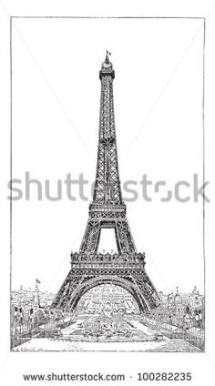 Eiffel Tower, brought up by the engineer Gustave Eiffel, vintage engraved illustration. Dictionary of words and things - Larive and Fleury - 1895.