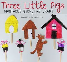 { Printable Storytime Craft: Three Little Pigs } - good for retelling story Preschool Activities, Activities For Kids, Crafts For Kids, Fairy Tale Theme, Fairy Tales, Puppets For Kids, Pig Crafts, Traditional Tales, Three Little Pigs