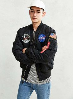 Shop Alpha Industries Apollo Bomber Jacket at Urban Outfitters today. We carry all the latest styles, colors and brands for you to choose from right here. Nasa Bomber Jacket, Bomber Jackets, Leather Jackets, Alpha Industries Nasa, Nasa Clothes, American Flag Patch, Camisa Polo, Military Jacket, Urban Outfitters