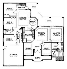 First Floor Plan of Florida   House Plan 58959