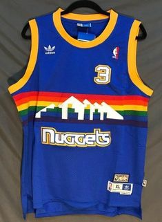 16d06144d Men 3 Allen Iverson Jersey Blue Denver Nuggets Throwback Swingman