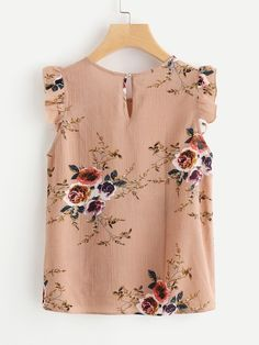 Shop Frilled Armhole Button Closure Back Shell Top online. SheIn offers Frilled Armhole Button Closure Back Shell Top & more to fit your fashionable needs. Trendy Outfits, Cute Outfits, Fashion Outfits, Womens Fashion, Ootd Fashion, Floral Tops, Floral Blouse, New Mode, Mode Top
