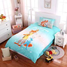 light blue Zootopia bedding sets single twin size comforter duvet covers bedspreads cotton Children's boy's bedroom decor 3-5pc