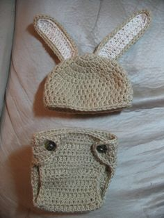 Bunny beanie with Diaper cover set....$35