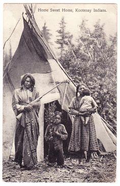 "BC – Kootenay, BC Indians, ""Home Sweet Home"", Teepee c.1908 PPC"