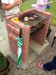 BBQ homemade from red bricks