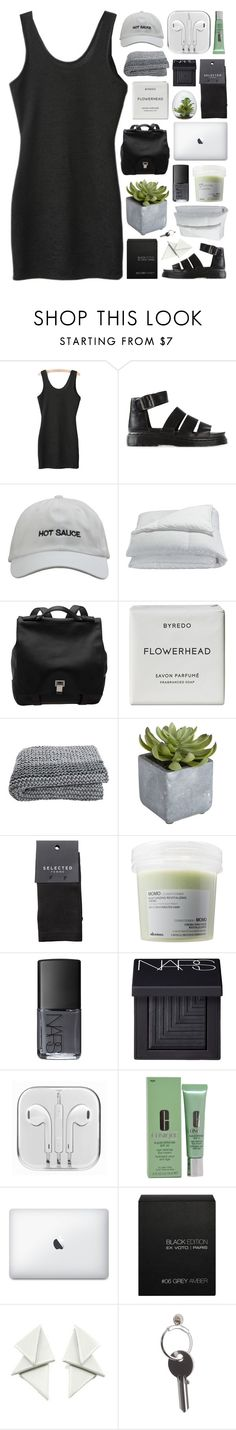 """""""MY BODY'S HAD ENOUGH."""" by annamari-a ❤ liked on Polyvore featuring Dr. Martens, Frette, Proenza Schouler, Byredo, Pier 1 Imports, SELECTED, Davines, NARS Cosmetics, Clinique and Ex Voto Paris"""