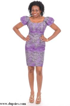 83385ce38e63 Purple Grey Black Off-White African Print Knee Length Dress-DP29 ...