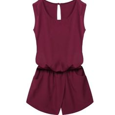 Elastic Waist Cut Out Back Pocket Romper Women Crewneck Elastic Waist Cut Out Back Pocket Romper Jumpsuit Playsuit.  Material: Polyester Style: Crew Neck, Sleeveless, Back neck single button, Elastic waist, Back cross backless, Front pockets, Solid Jumpsuit Garment Care: Hand-wash and Machine washable, Dry Clean Other