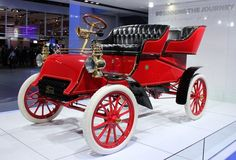 This year, Ford is celebrating the 150th birthday of founder Henry Ford. Its area at the auto show included a 1903 Model A, the oldest surviving Ford car. Henry Ford, Ford Motor Company, Convertible, Vintage Cars, Antique Cars, Detroit Auto Show, Auto Retro, Retro Cars, Ford Models