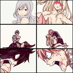 Ah yes Nalu and Gruvia, whoa hey settle down you guys just use a healing spell or something.