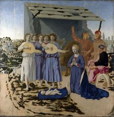 The Nativity by Piero della Francesca 1470-5 (even the magpie is silent with reverence)