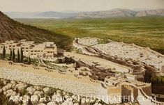 Mycenae, citadel and lower town in southern Greece around 1300 BC with the Saronic Gulf and the Plain of Argos in the background. Reconstruction of Mycenae by Balage Balogh is based on recent excavations and photos taken at the site. Details on www.Archaeologyillustrated.com