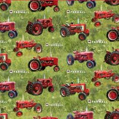 Green Grass Background, Farmall Tractors, Yard Tractors, Red Tractor, Case Ih, Green Fields, Cotton Quilting Fabric, How To Make Pillows, Wild Hearts