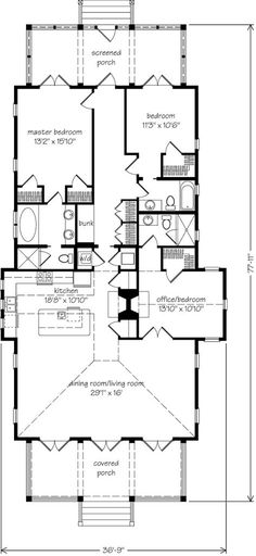 Looking for the best house plans? Check out the Seaward Cottage plan from Coastal Living. Cottage Floor Plans, Kitchen Floor Plans, Cottage House Plans, Small House Plans, House Layout Plans, Floor Plan Layout, House Layouts, The Plan, How To Plan