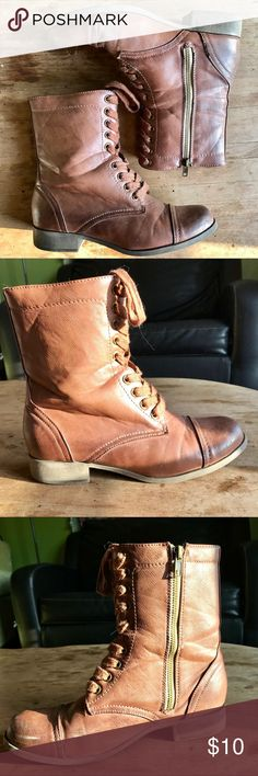 """SALE ⚡️ Brown Boots Gently used. No damage. Some scuffs/discoloration from normal wear.  Brown vegan leather lace up boots. Side zipper. No tread on soles. 1/2"""" heel.  ❤️See last picture for FAQ & Information about my closet❤️ Shoes Lace Up Boots"""