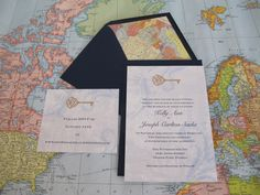 Travel theme wedding invitation