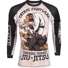 Tatami The Thinker Jiu-Jitsu Monkey Longsleeve Rashguard,White,large