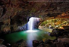 Waterfall plunges into a natural cave in the Natural Arch - Springbrook National Park - Queensland, Australia. Natural Bridge Springbrook, Bunbury Australia, Brisbane, Australia Landscape, Roadtrip, Natural Wonders, Nature Pictures, Flower Pictures, Amazing Nature